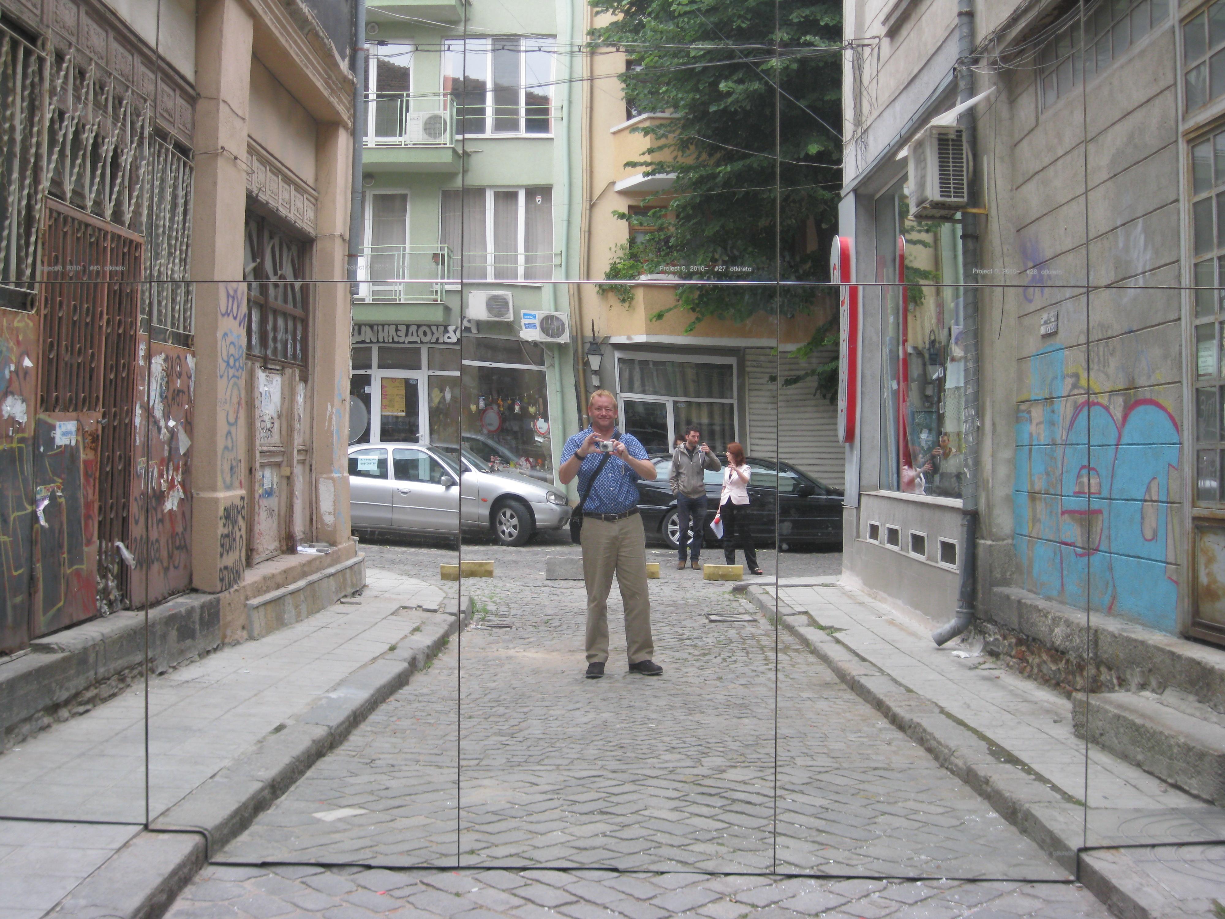 Public art mirror installation for Mirror installation
