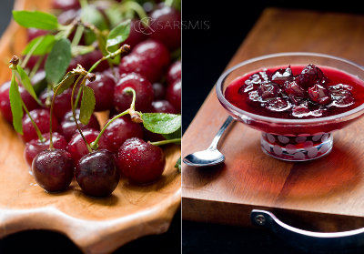Picture of fresh cherries next to a picture of a dish of cherry preserves