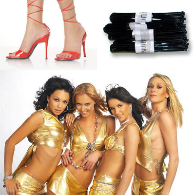 Photo of hairpins, high-heeled shoes, and a girl band